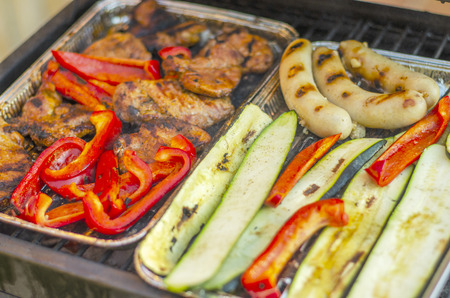 Meat and vegetables on the grill