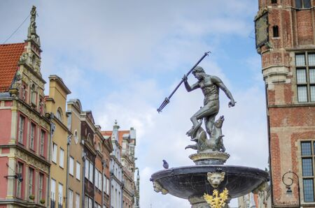 Historic Neptune's Fountain on the Old Market in Gdansk, Poland Editorial