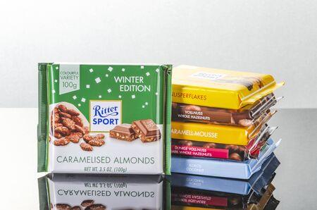 Variety of Ritter Sport chocolate bars.