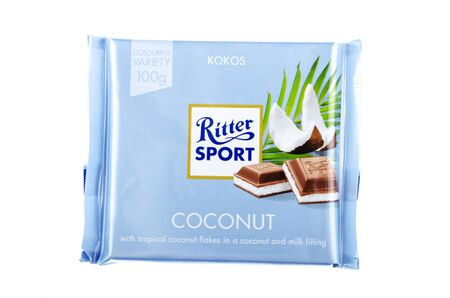 Ritter Sport chocolate bar isolated on white background