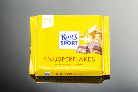 Ritter Sport chocolate bar isolated on gradient background Standard-Bild - 134908041
