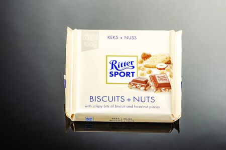 Ritter Sport chocolate bar isolated on gradient background Standard-Bild - 134908045
