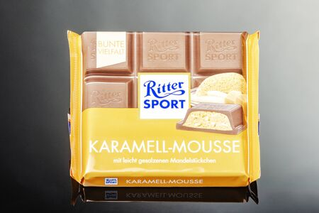 Ritter Sport chocolate bar isolated on gradient background Standard-Bild - 134908046
