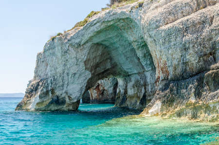 Gorgeous azure waters of blue caves on north east coast of Zakynthos island, Greece