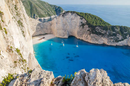 Picturesque Navagio beach with famous shipwreck on north west coast of Zakynthos island, Greece