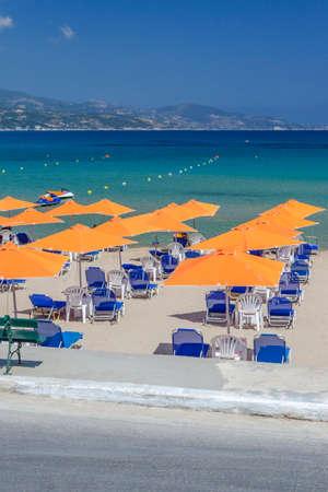 Scenic sandy beach in Alykanas. It is situated on the east coast of Zakynthos island, Greece.