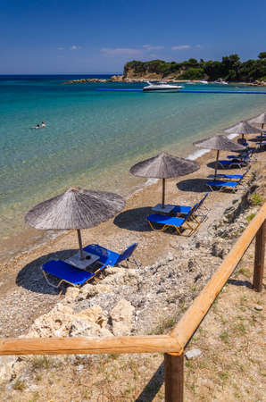 Beautiful Porto Roma sandy beach. It is situated on Vassilikos peninsula on the south east coast of Zakynthos island, Greece. 新闻类图片