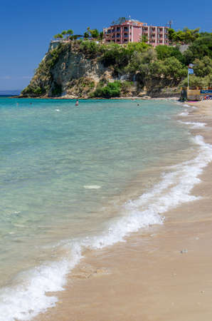 Picturesque golden sandy beach in Tsilivi situated on the east of Zakynthos island on Ionian Sea, Greece.