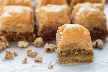 baklava: Baklava with walnuts Stock Photo