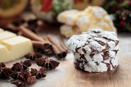 crinkles: Chocolate crinkles cookies close up. Shallow depth of field