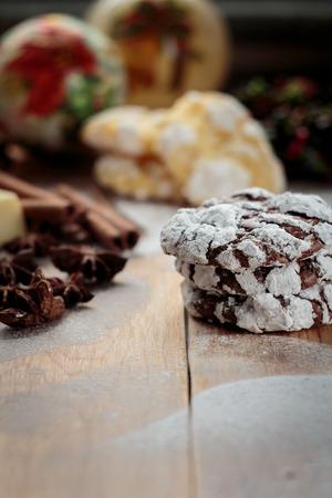 crinkles: Chocolate crinkles cookies. Shallow depth of field