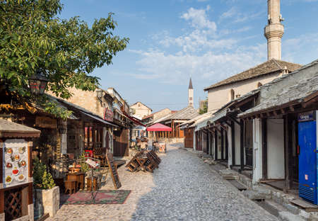 MOSTAR, BOSNIA AND HERZEGOVINA - AUGUST 15, 2015: Empty streets of Mostar early in the morning