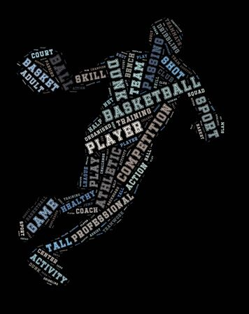 slam: Basketball player word cloud, basketball typography background