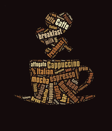 caffe: Coffee word cloud, words related to coffee in shape of coffee mug