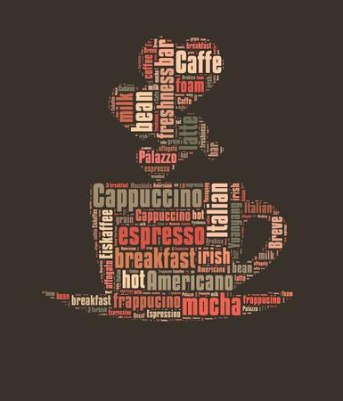 caffe: Coffee word cloud, words related to coffee in shape of coffee mug