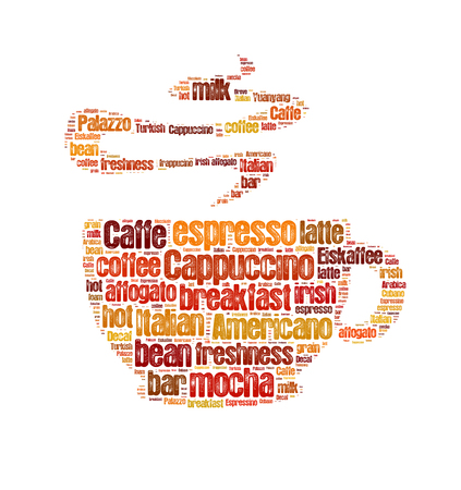blends: Coffee word cloud, words related to coffee in shape of coffee mug