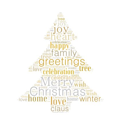 Merry Christmas Word Cloud Shaped As A Christmas Tree In Gold ...