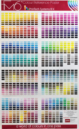 pallete: ZAGREB, CROATIA - SEPTEMBER 06, 2014: Pantone colour reference poster in printing house, pantone is way of mixing colors to specific shade