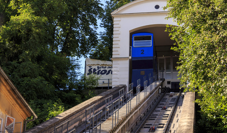shortest: ZAGREB, CROATIA - JUNE 07, 2014: The Zagreb funicular is one of many tourist attractions in Zagreb, Croatia. It is one of the shortest funiculars in the world; the length of the track is 66 meters. Editorial