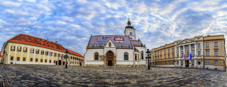 Panorama of St. Marks Square, St. Marks Church and the Croatian Parliament Editorial