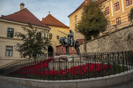 brethren: ZAGREB, CROATIA - JUNE 18, 2014: St. George sculpture on square of the Brethren of the Croatian Dragon