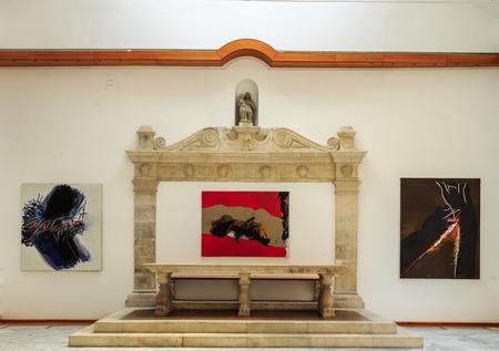ZADAR, CROATIA - JULY 15, 2014: Exhibition at the National Museum in Zadar. Edo Murtic Utopia and dystopia in modernism