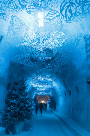 ZAGREB, CROATIA - DECEMBER 27, 2016:  WW2 tunnel under city of Zagreb decorated as part of Advent in Zagreb Editorial