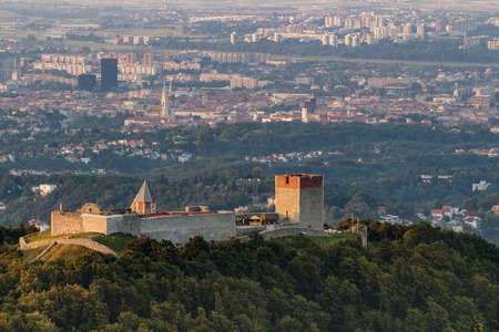 ZAGREB, CROATIA - JULY 04, 2015: Old town Medvedgrad known as the altar of the homeland with the Croatian capital of Zagreb in the background