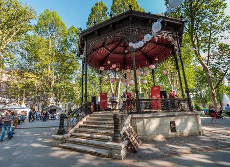 ZAGREB, CROATIA - MAY 07, 2016: Music pavilion on 5th festival of sweets in the park Zrinjevac in Zagreb, Croatia Editorial