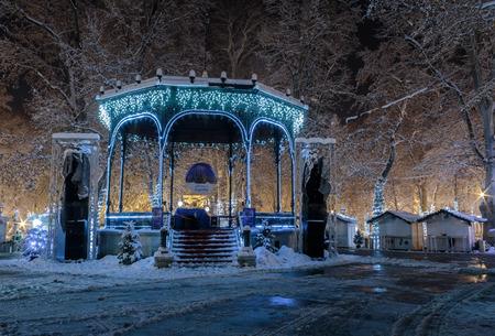 Advent in Zagreb Pavilion decorated with christmas lights in Zrinjevac park in Zagreb, Croatia