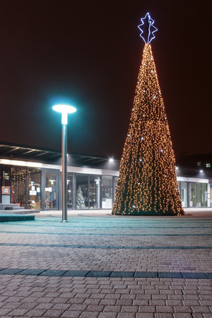 ZAGREB, CROATIA - DECEMBER 5, 2015: Advent in Zagreb, Christmas tree illuminated with many light bulbs on Kaptol in Zagreb, Croatia