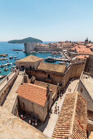 Summer scene of the Dubrovnik Old Town seen from the wall tour Stock Photo