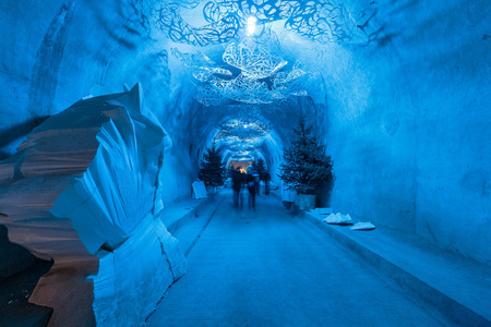 ZAGREB, CROATIA - DECEMBER 27, 2016: WW2 tunnel under city of Zagreb decorated as part of Advent in Zagreb