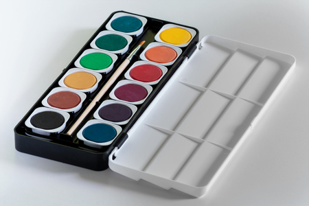 Watercolor palette on white background Stock Photo
