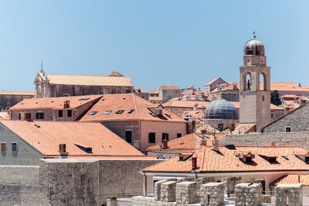 Roofs and the bell tower of the Old town of Dubrovnik