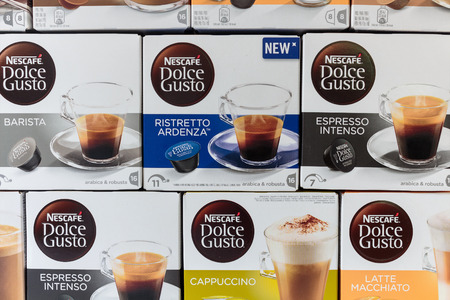 cortado: ZAGREB, CROATIA - SEPTEMBER 23, 2016: Boxes of different kinds of Nescafe Dolce Gusto drinks