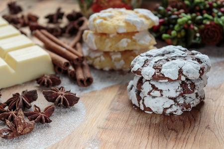 Chocolate crinkles cookies Stock Photo