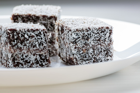 Australian Lamington cake on white plate