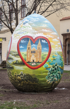 ZAGREB, CROATIA - MARCH 21, 2015: Large Easter eggs decorated by Croatian naive artists. Naive art is a art that is often characterized by a childlike simplicity in its subject matter and technique.
