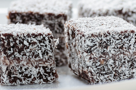 Australian Lamington cake on white plate