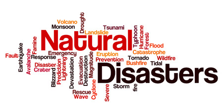 Natural disasters word cloud background