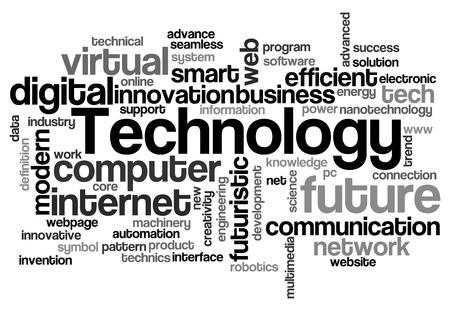 技術単語の雲。技術のタイポグラフィの背景。