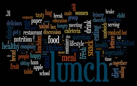 Lunch word cloud. Lunch typography background.