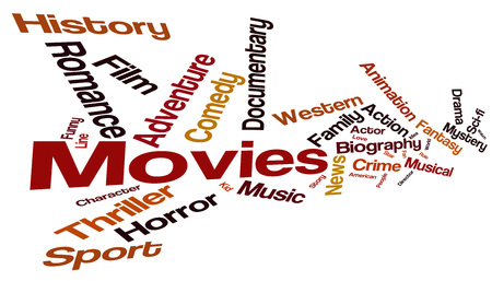 Movies word cloud. Movies typography background.