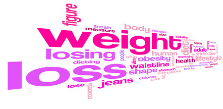 Weight loss word cloud. Weight loss typography background.