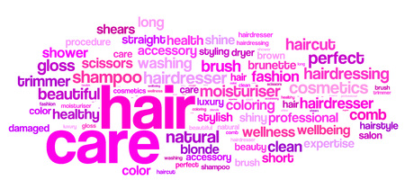 Hair care word cloud. Hair care typography background. Stock Photo