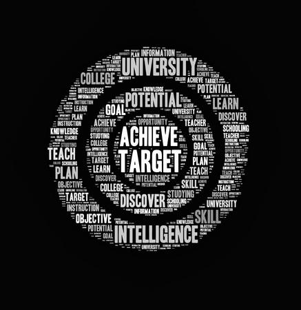 Nuage de mot cible, fond de concept de l'éducation