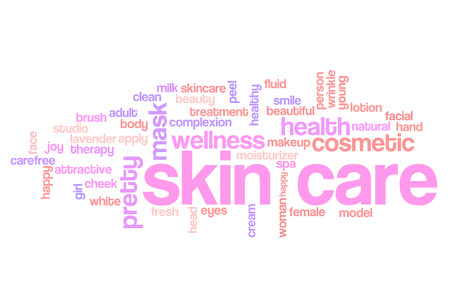 Skin care word cloud, skin treatment background concept