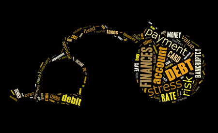 Debt word cloud in the shape of the chain ball