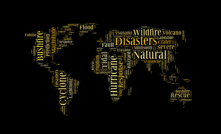 devastation: Natural disasters word cloud in the shape of the Earth,  background